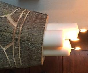 Wood Stump Candle Holder