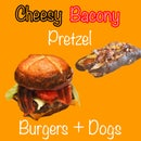 Cheesy Bacony Pretzel Burgers and Dogs