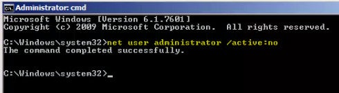 Enable Administrator Account (Command Line)