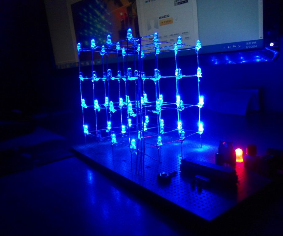 Simple LED Cube 4x with Arduino/328p