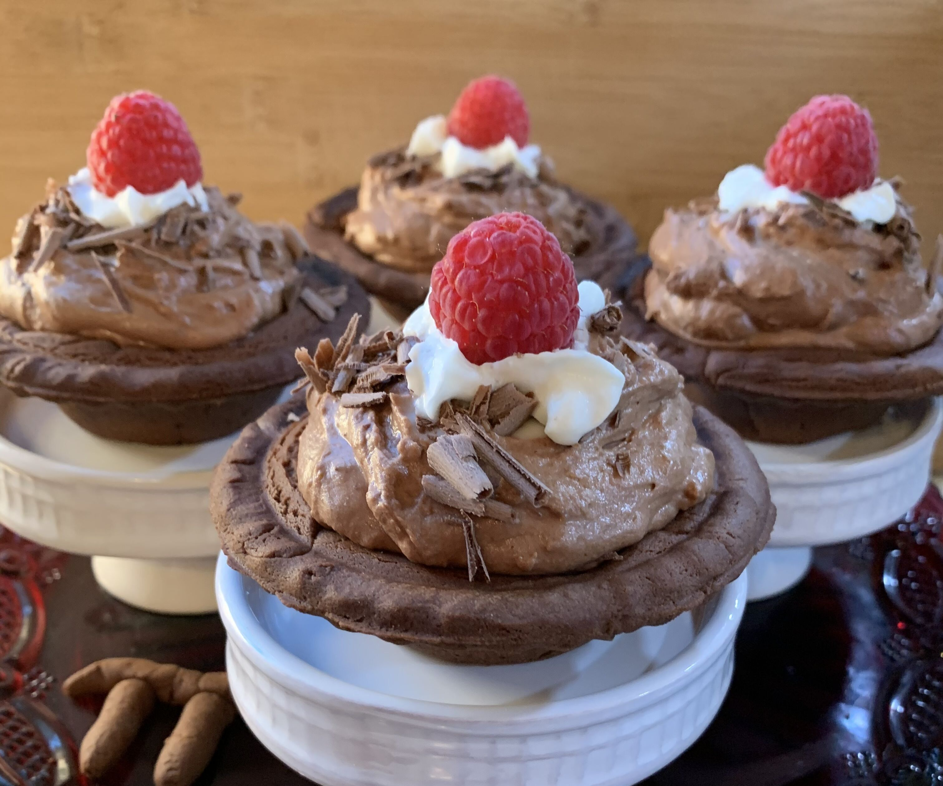 Raspberry Chocolate Mousse Mini Pies