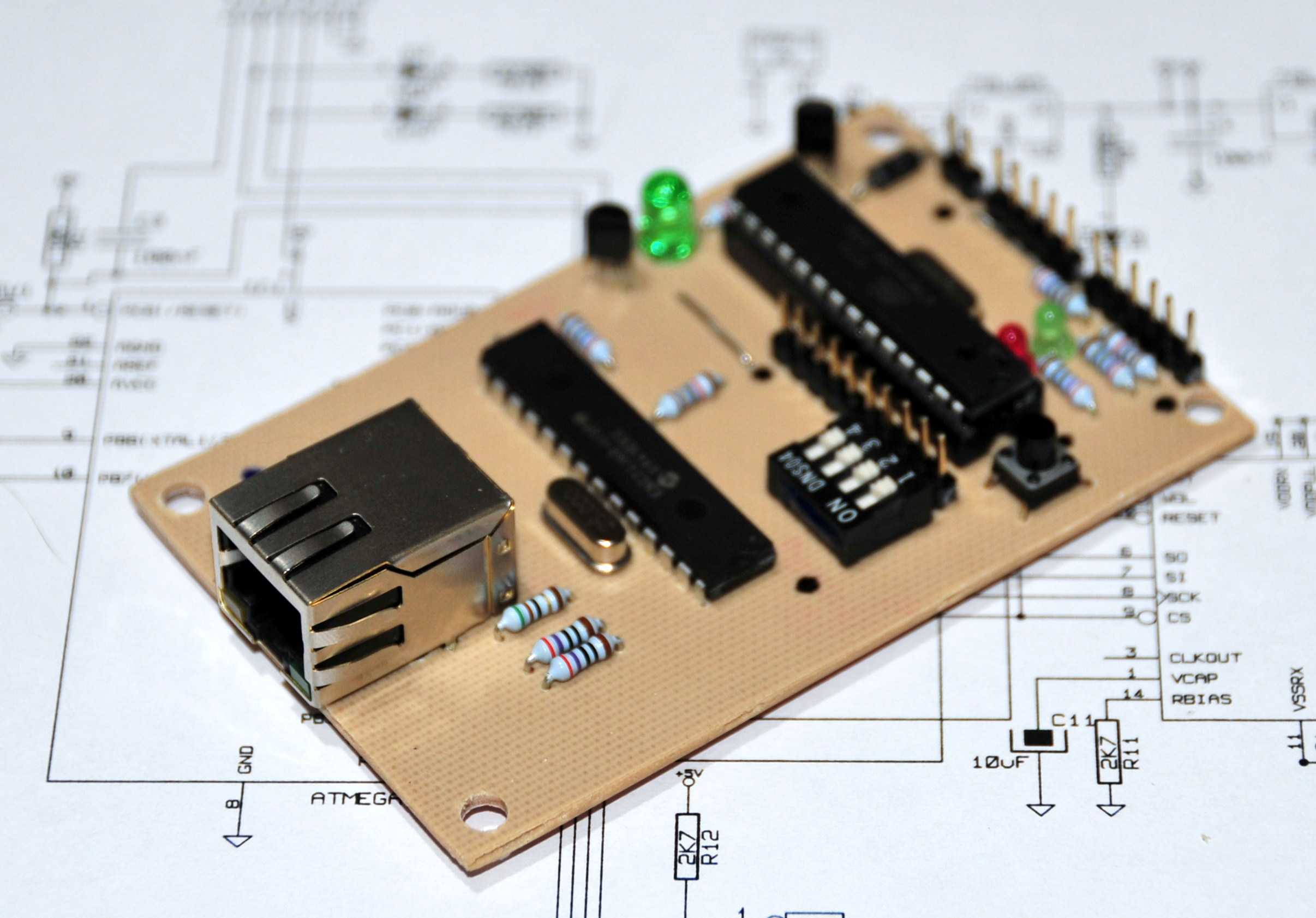 A credit card sized Ethernet Arduino compatable controller board