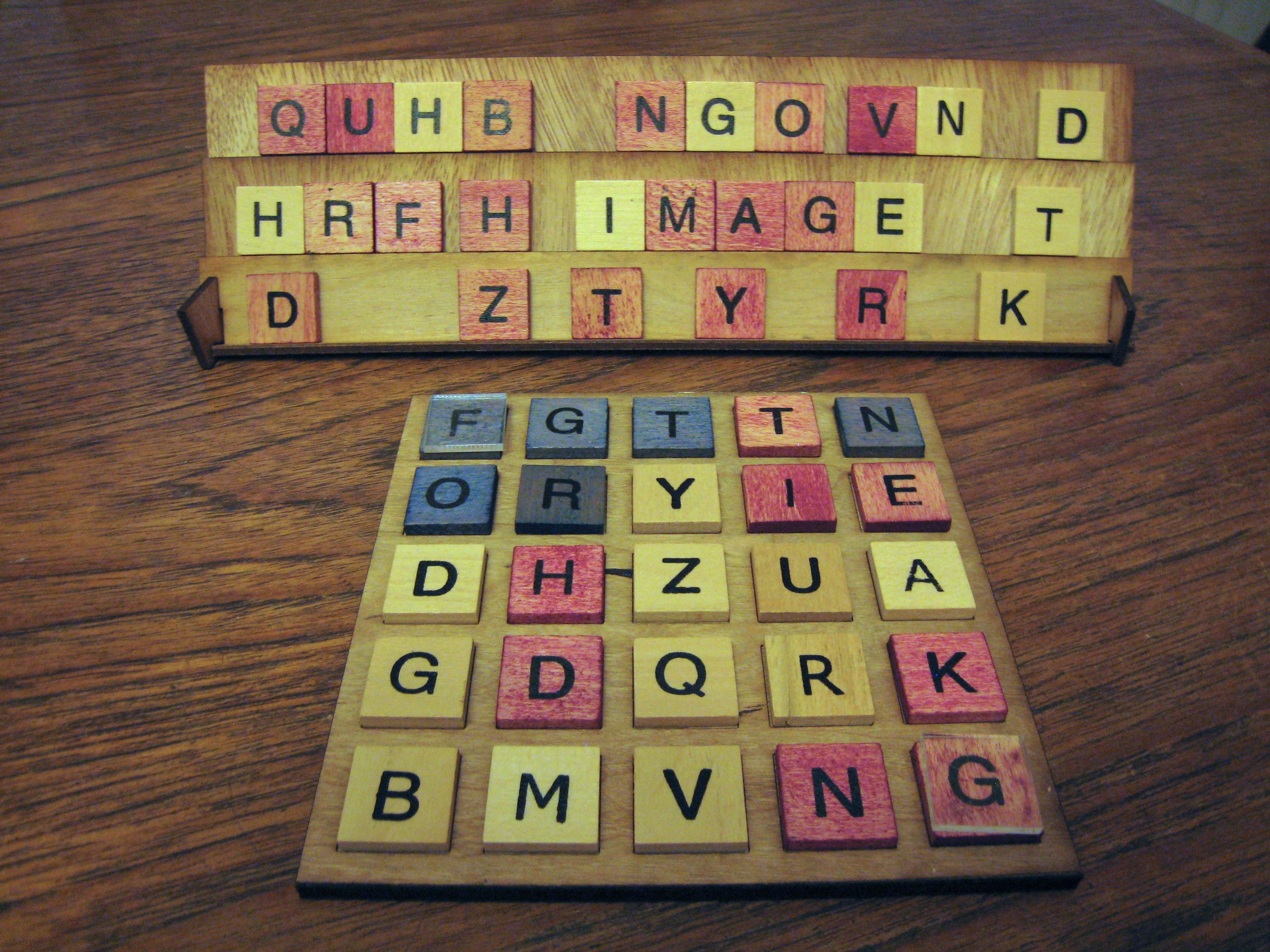 "Physical ""Letterpress"" board game set"