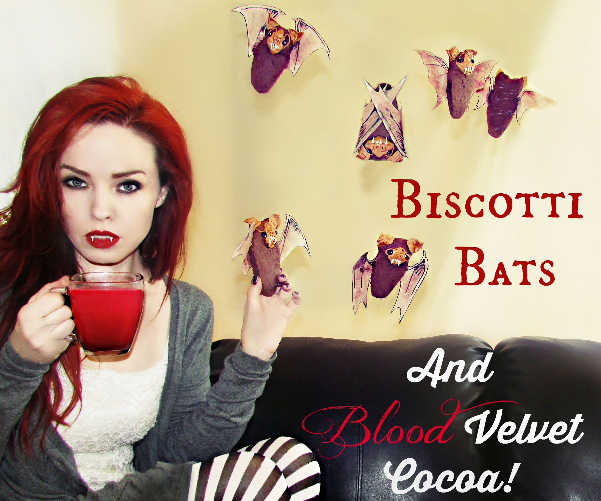 Flying Biscotti Bats and Blood Velvet Cocoa!
