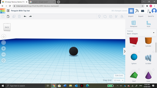Drag and Drop a Sphere From the Task Bar and Change the Colour to Black.
