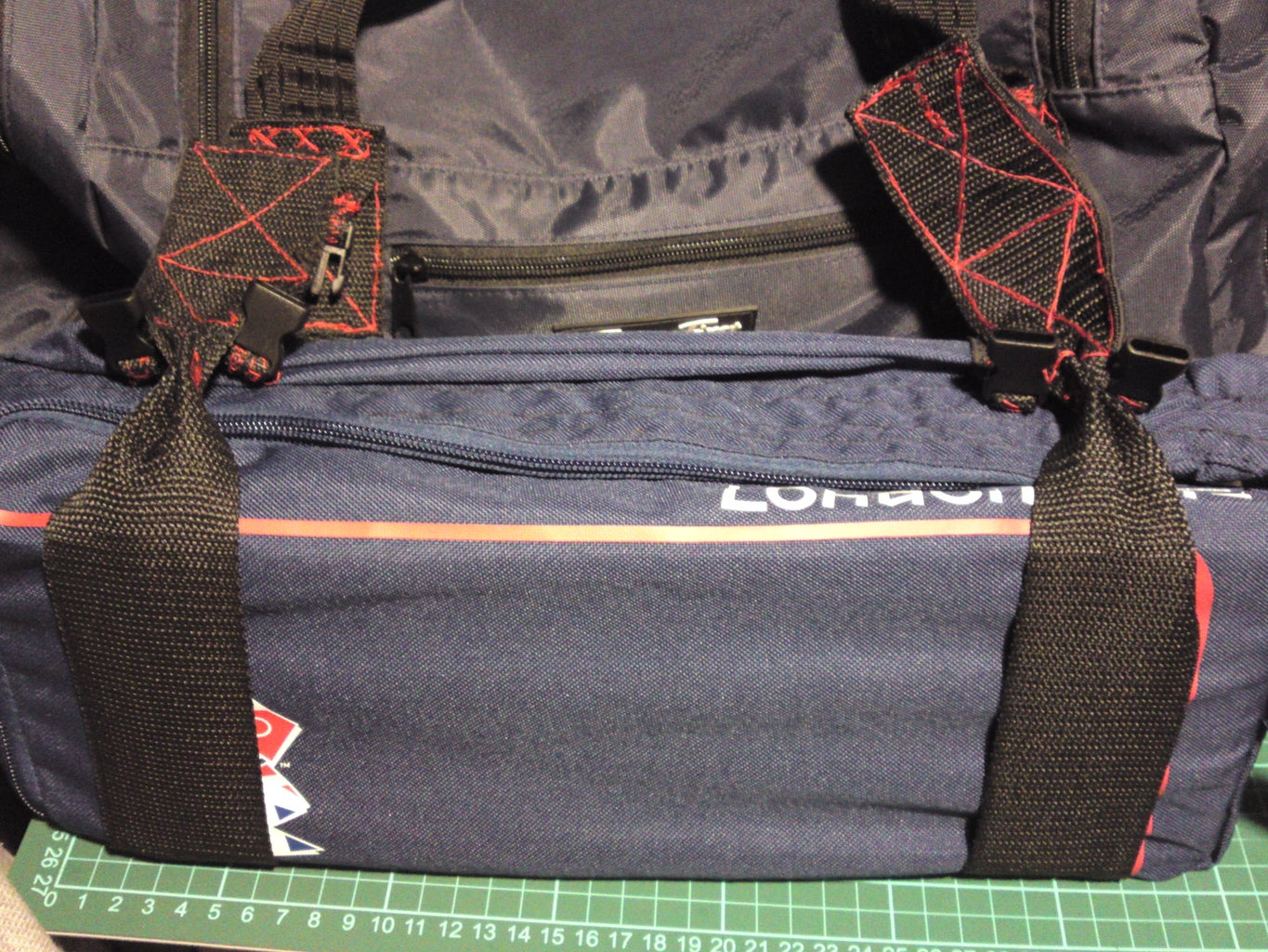 Grab Both Straps Made Earlier With the Velcro Sections Sewn in & the Reinforced Shoe Bag!