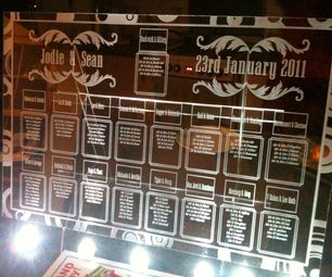 Lasercut and Engraved Wedding Table Plan