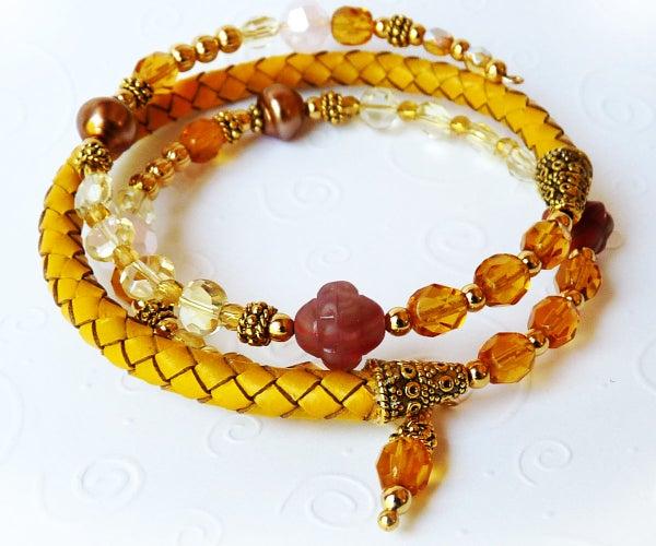 Leather & Memory Wire Wrap Bracelet