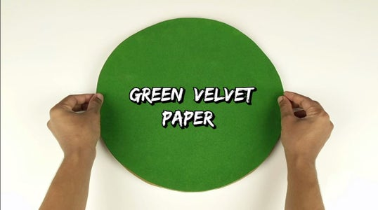 Take a Circular Cardboard Piece of Diameter 35 Cm and Cover the Top With the Green Velvet Paper.
