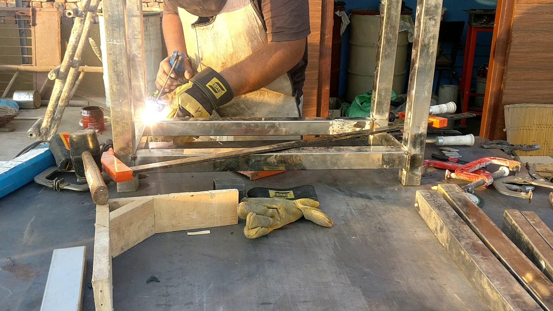 Welding the Legs and  Frame.