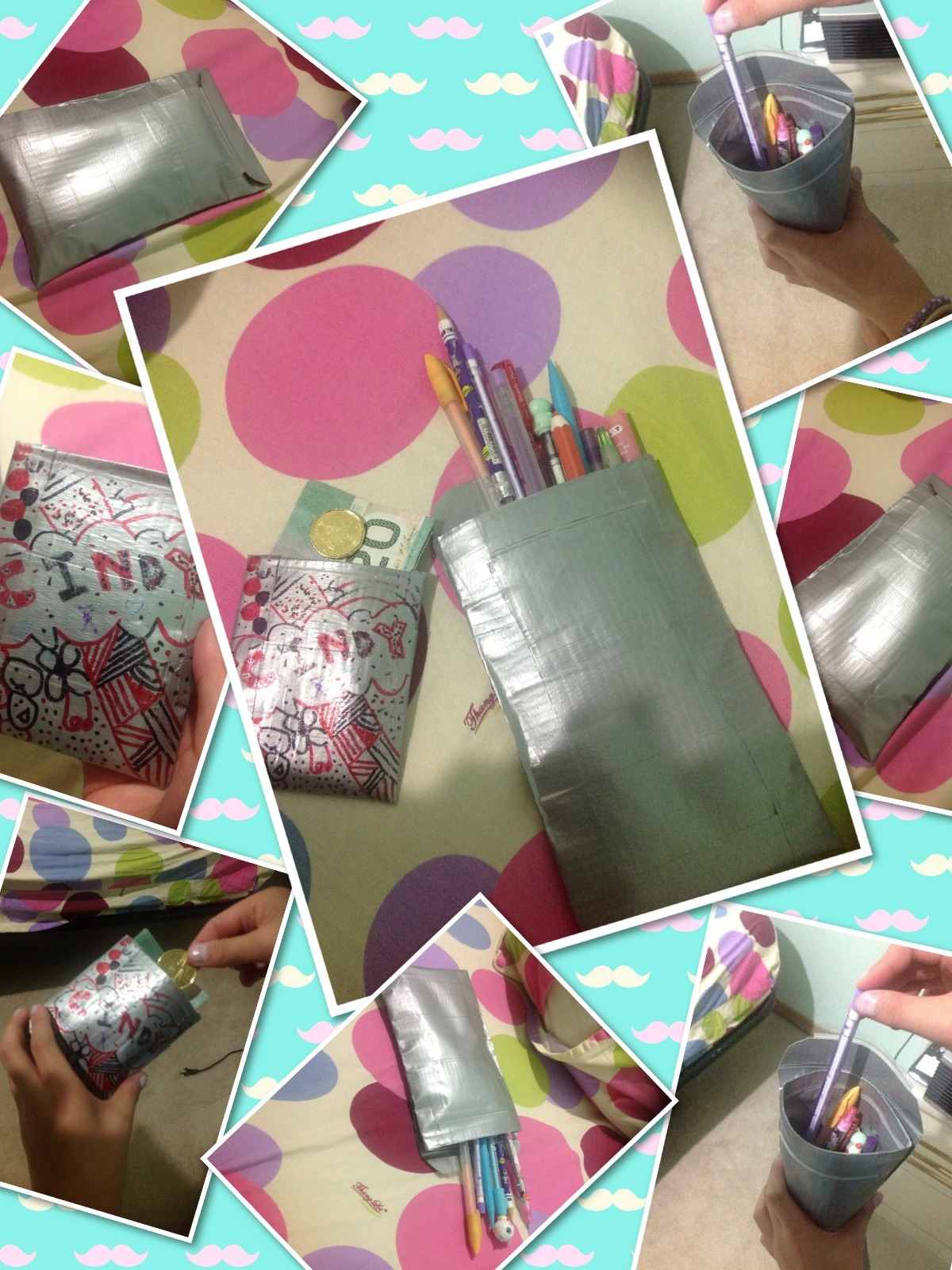 Back To School Duct Tape Money Holder And Pencil Case