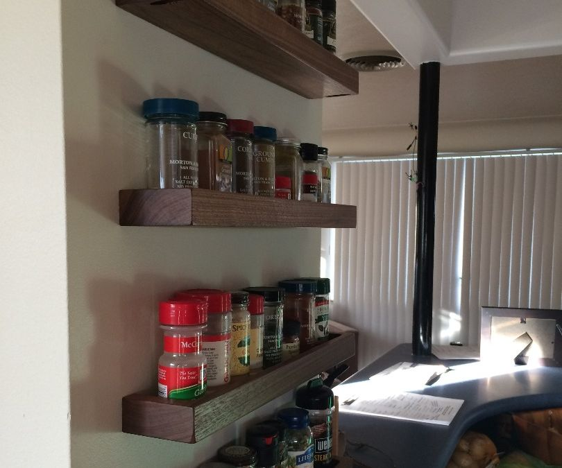 Floating Spice Shelves