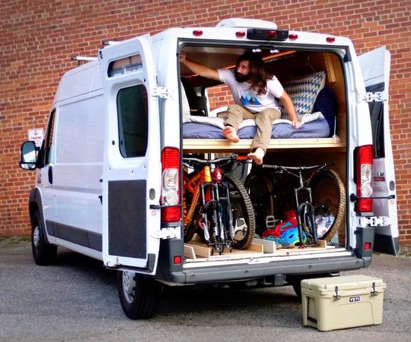 DIY Camper Van Conversion Bed Build, Bed Converts to a Couch! #VANLIFE