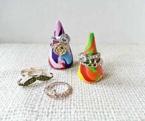 DIY Colorful Cone Ring Display