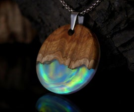 Opal, Wood and Epoxy Resin Aurora Pendant