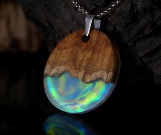 Opal, Wood and Epoxy Resin Aurora Pendant