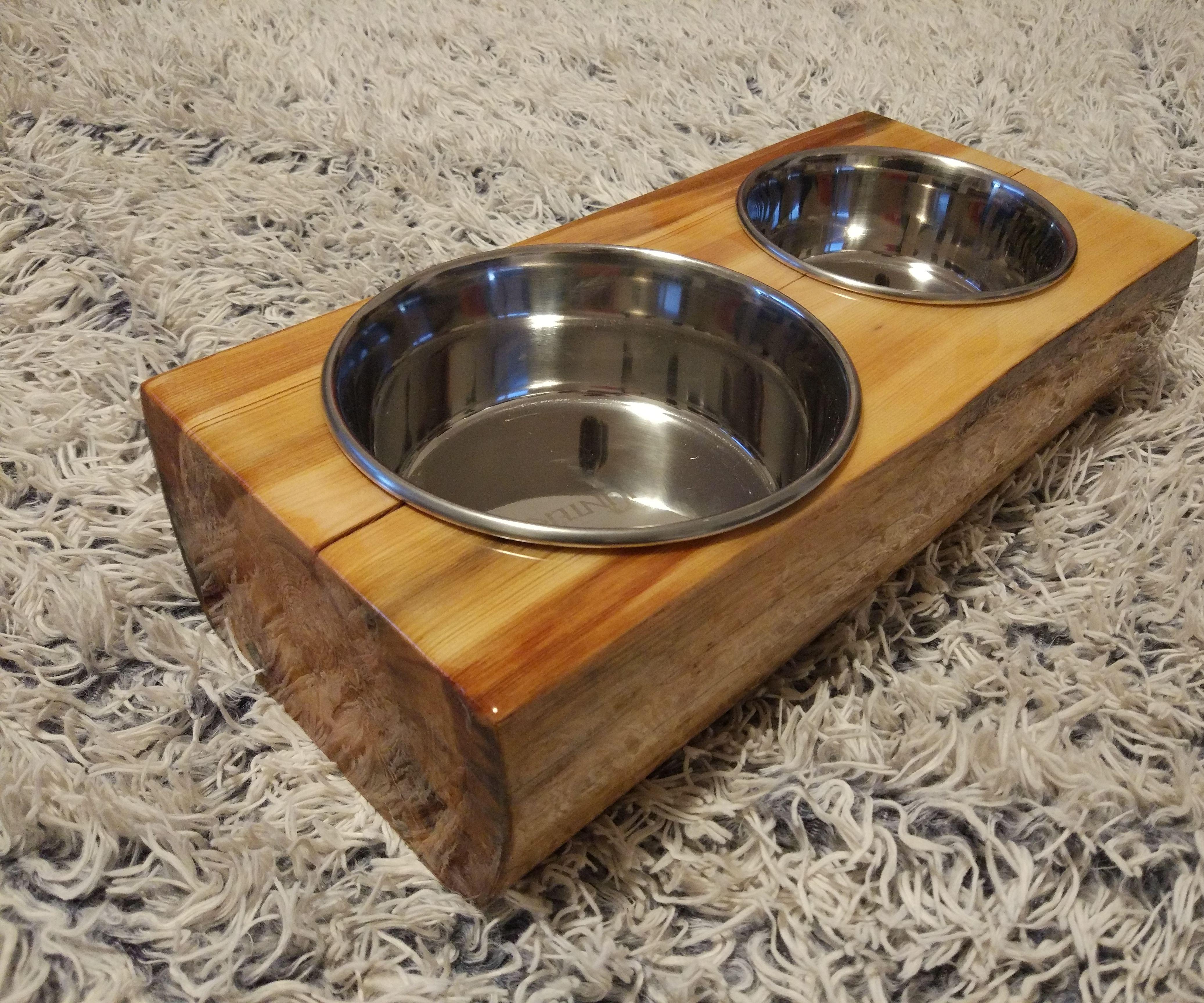 Wooden Dog Bowl Holder