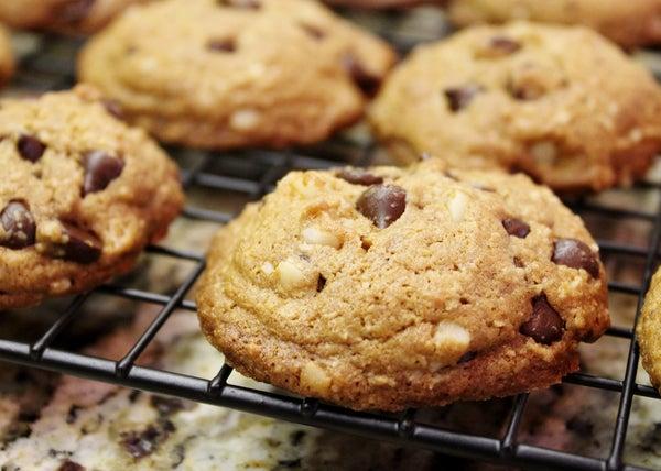 Gluten Free Bittersweet Chocolate Macadamia Nut Cookies