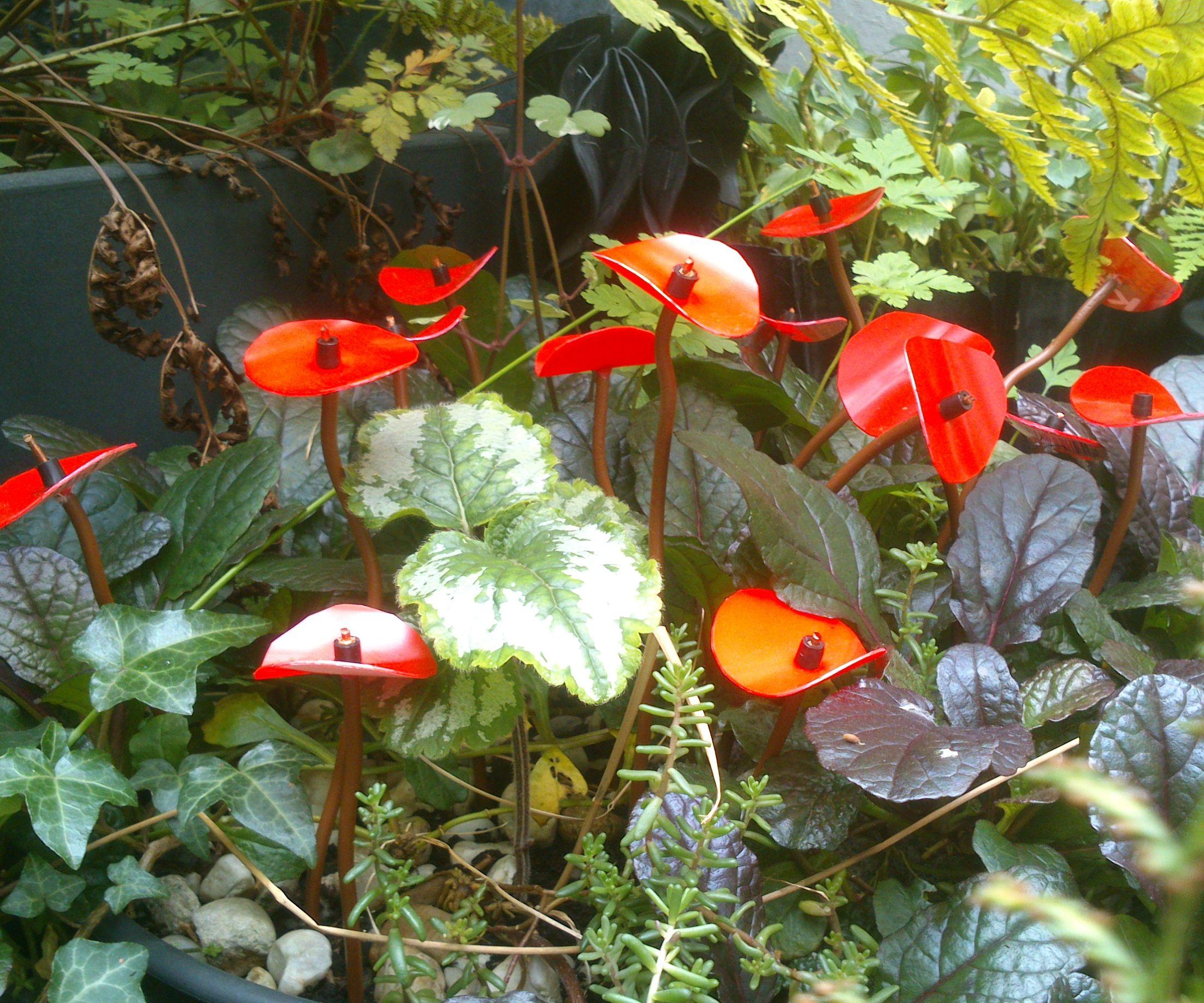 Ornamental plastic flowers