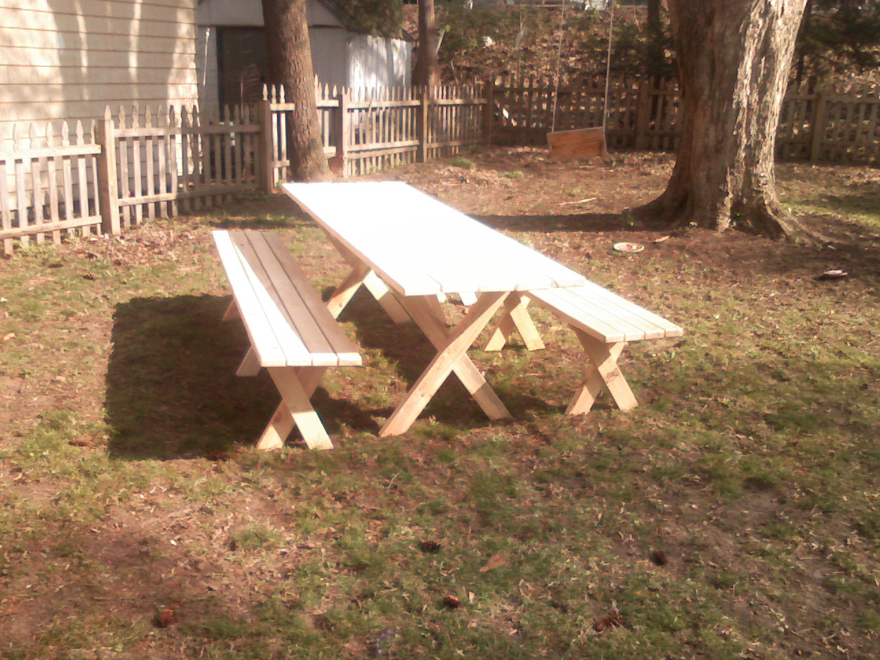 Picnic table with detached benches