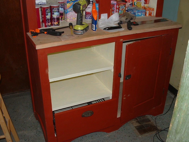 Refinishing the Cupboard to the Original Finish.