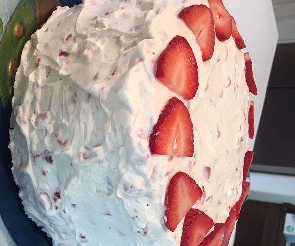 Vanilla Cake With Strawberry Whipped Cream Frosting