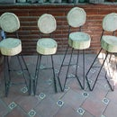 Rebar / Log Bar Stools -- Bancos De  Bar Varilla / Troncos