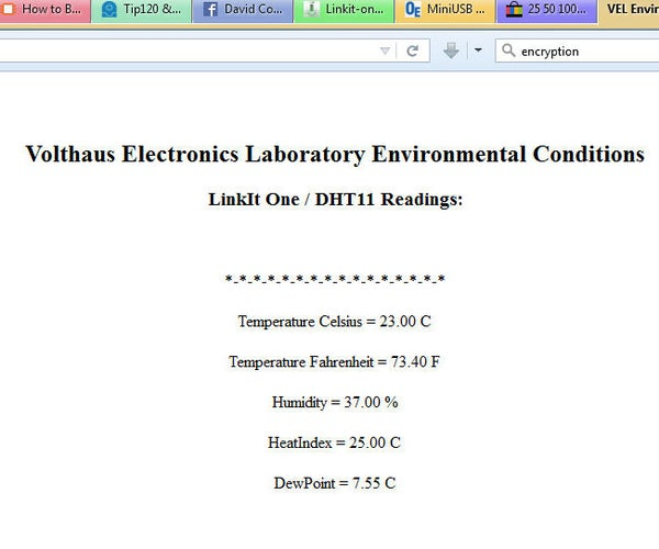 LinkIt One DHT11 Webserver