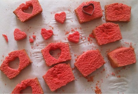 Place Cute Hearts and Bake the Cake
