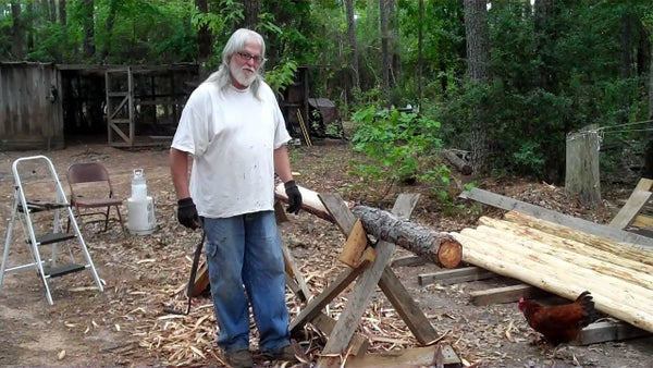 How to Use a Drawknife to Debark a Pine Log