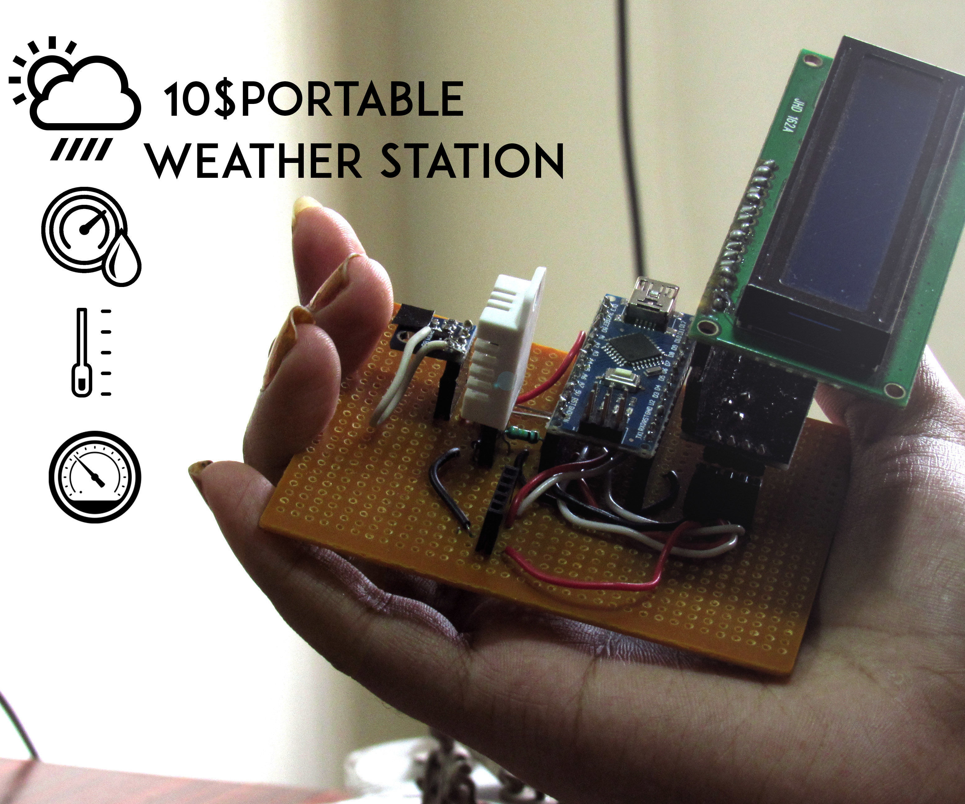 10 $ portable Arduino weather station (AWS)