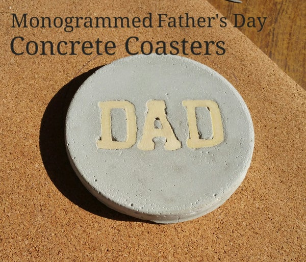 Monogrammed Father's Day Concrete Coasters
