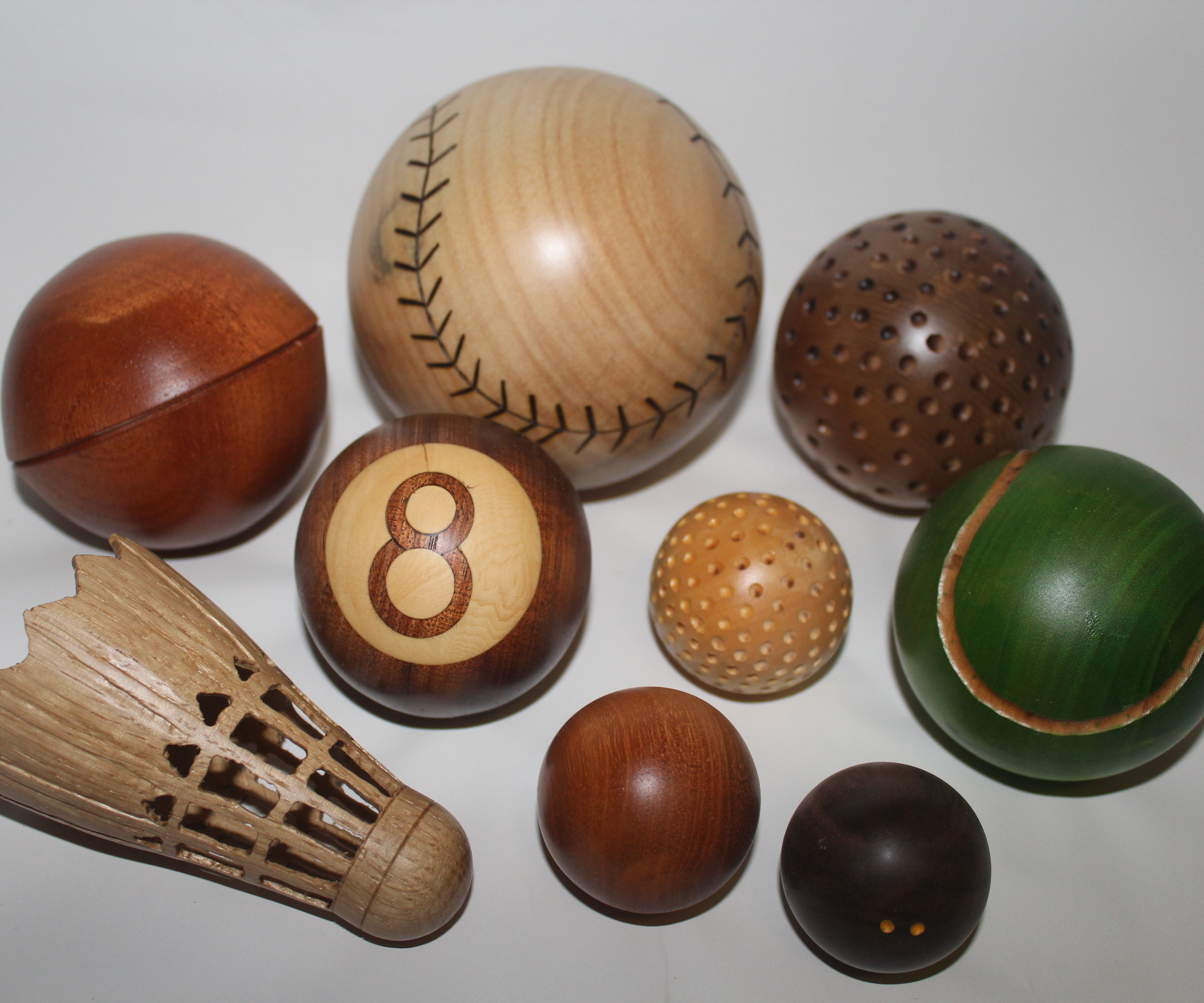 Wooden spheres (6 different ways) (sport ball theme)