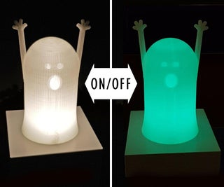 Glow in the Dark 3D-Printed Ghost Light