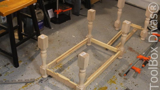 ASSEMBLE THE LOWER PORTION OF THE FRAME OF THE BENCH.