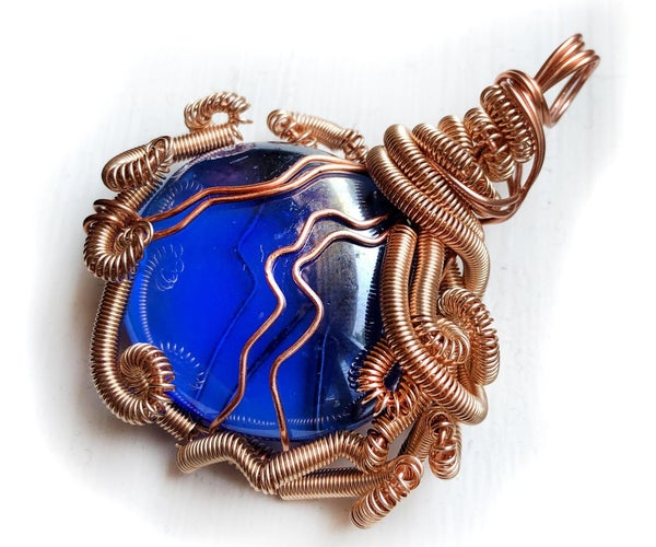 Amazing Wire Wrapped Glass Pendant...for Pennies!
