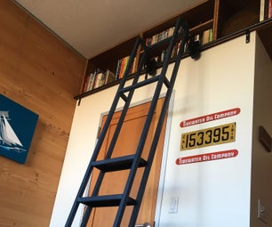 Ceiling Bookshelf With Library Ladder