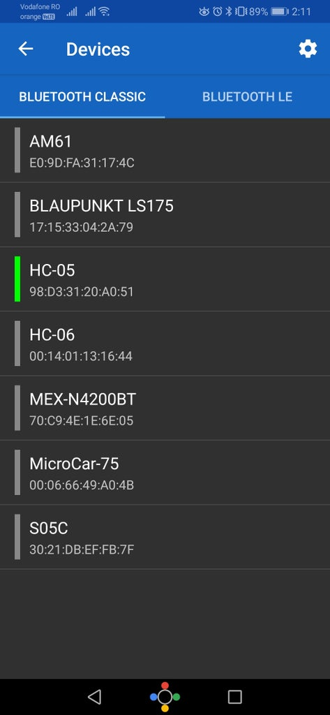 Pair the HC-05 Bluetooth to the Microcar
