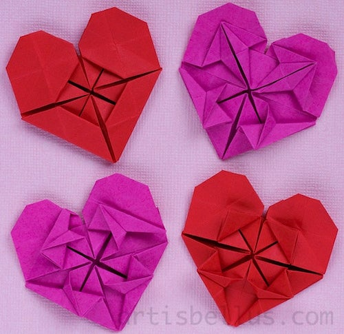 How to Make an Origami Flower Heart!