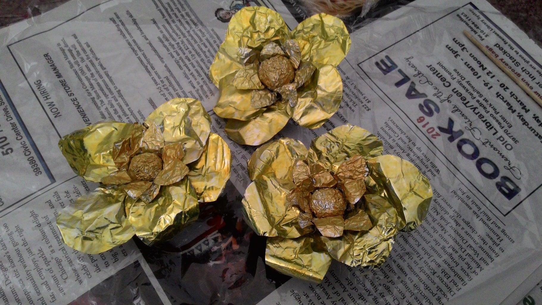 Aluminium Foil Flower- Yellow