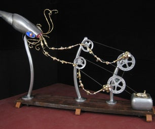 Giant Squid Kinetic Sculpture From Found Materials