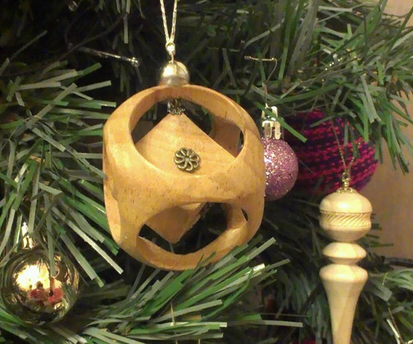 Wooden Cube in a Sphere Christmas Bauble Tree Ornament