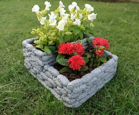 DIY Textured Cement-Styrofoam Planter