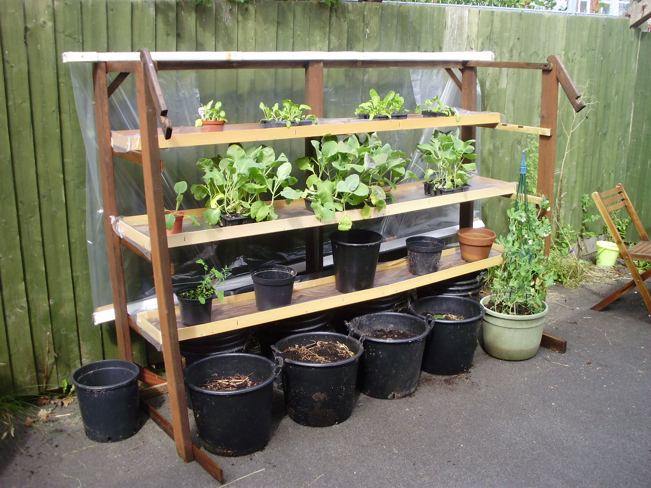 Vertical garden made from scrap materials