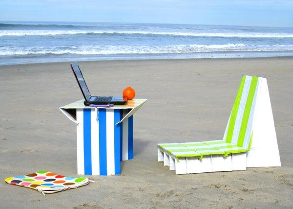 Flat-pack Cardboard Beach Office