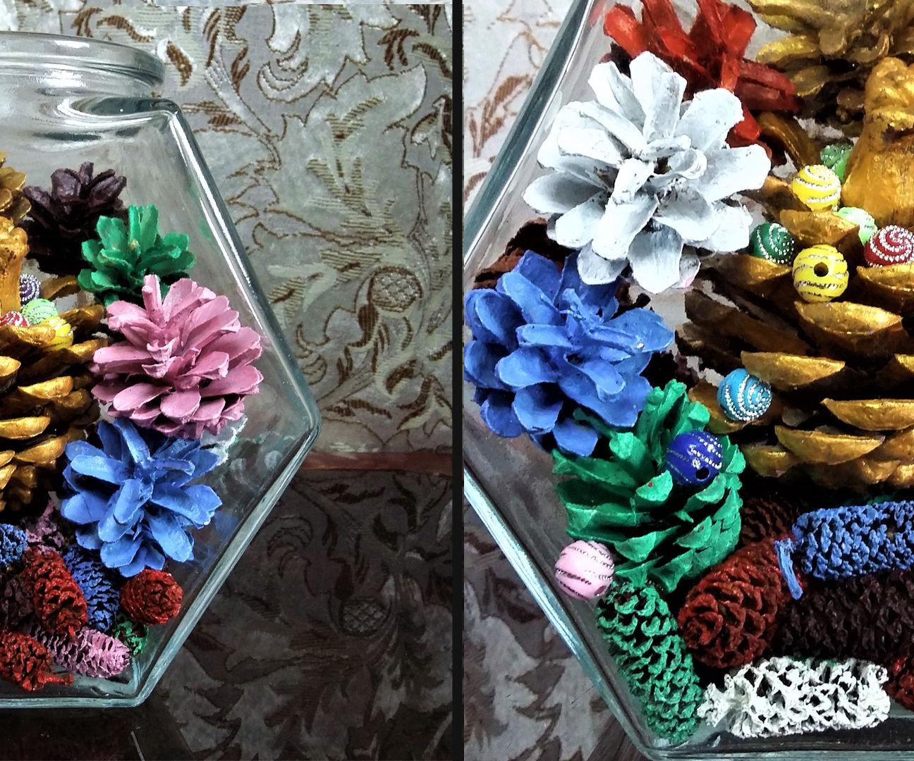 How to Make Multi Colors Pine Cone Terrarium| Pine Cone Diorama|5 Minutes Craft
