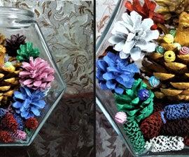 How to Make Multi Colors Pine Cone Terrarium  Pine Cone Diorama 5 Minutes Craft