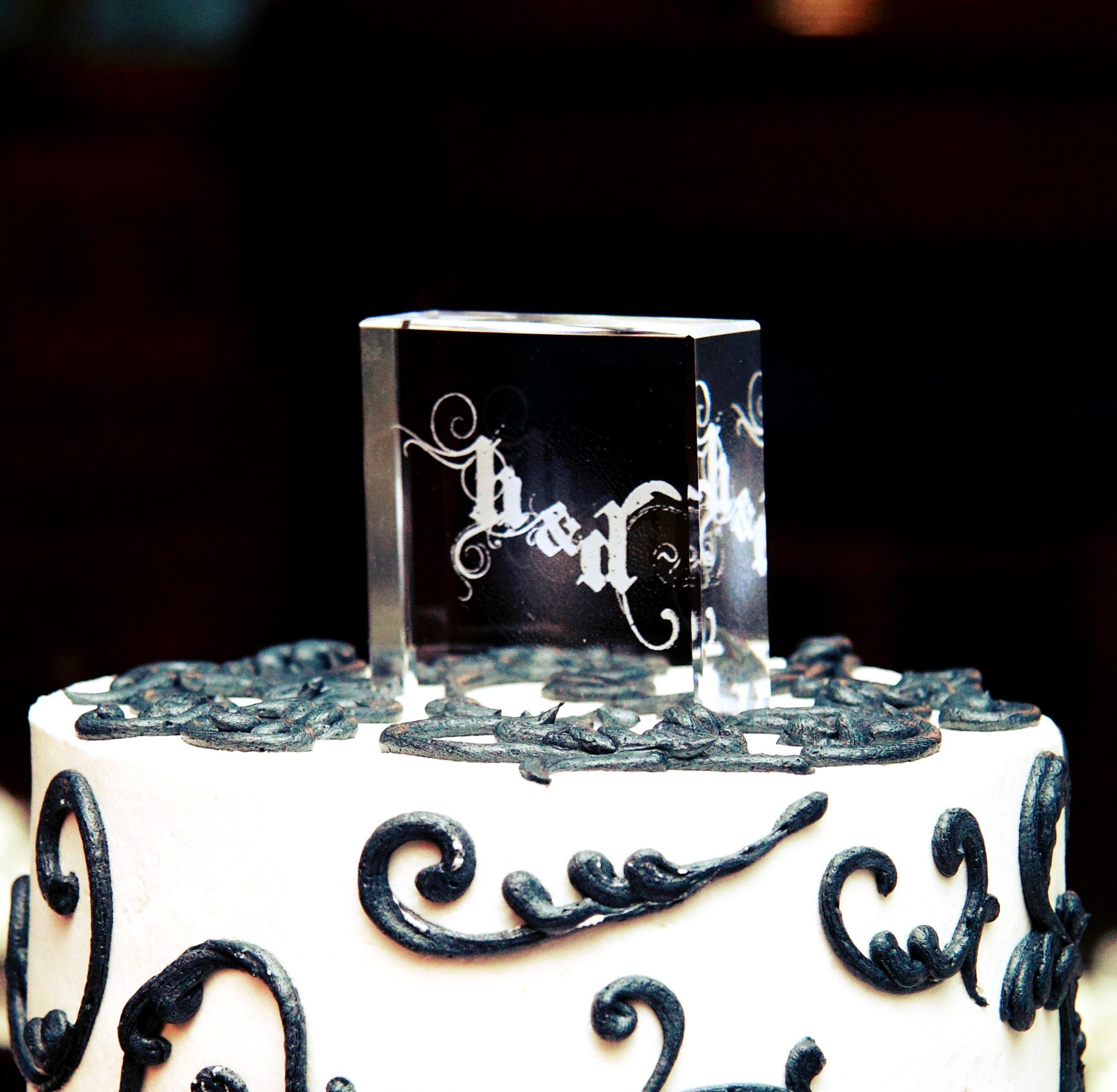 Personalized Illuminated Crystal Wedding Cake Topper
