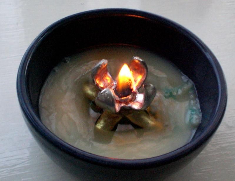 Lard Lamp - a solid fat burner made by lost wax casting