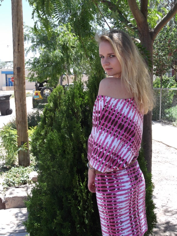 Summer Stylish Dress Using a T-shirt for the Pattern